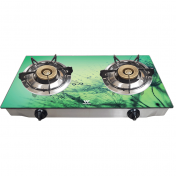 Walton Glass Top Double Burner LPG - WGS-GS2 Rainy Green